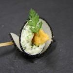 Cone de radis noir au tartare de brocolis